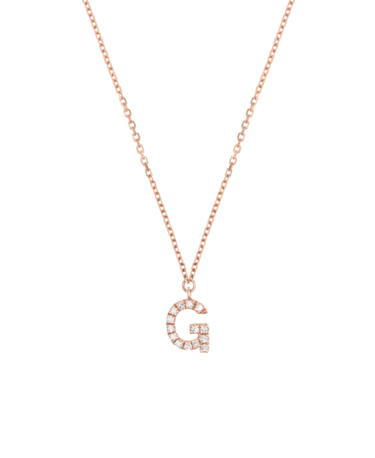 Letter Necklace G 14k Rose Gold New One By Schullin