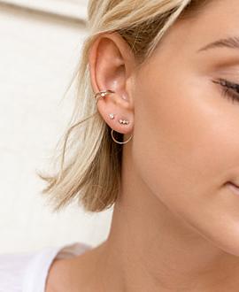 TOPAZ CIRCLE  Ear Jackets Silber