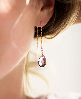 AMETHYSTE DROPS EARRINGS ROSE
