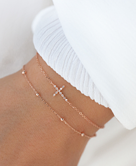 SPARKLING CROSS  BRACELET ROSE