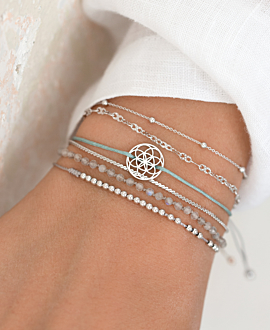 FLOWER OF LIFE Armband Mintgrün
