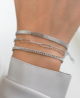 CURB CHAIN Armband Silber