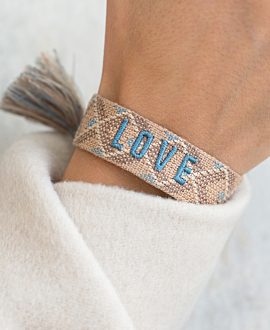 LOVE  Armband Textil