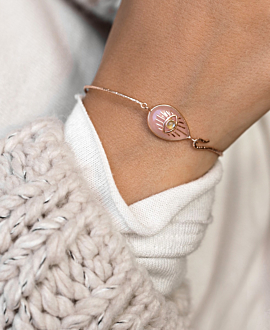 EVIL EYE BANGLE ROSE QUARTZ