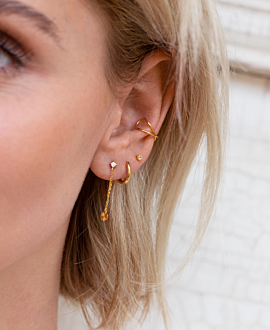 RADIANT CIRCLE Ear Jackets Gold