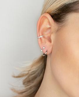 BLOOMY TOPAZ  EAR STUDS SILVER