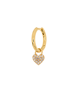 TOPAZ HEART Creole Single Gold