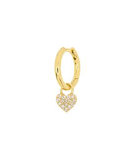 TOPAZ HEART Creole  Single Gold