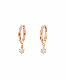 MOONSTONE CHARM  HOOPS ROSE