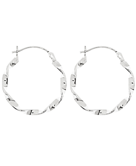 TWISTED  HOOPS SILVER 20MM