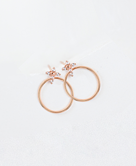 TOPAZ CROSS  Ear Jackets Rosé