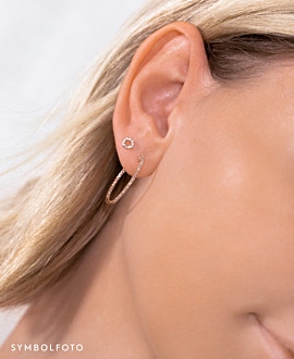 DIAMOND EAR STUD SINGLE 14K GOLD