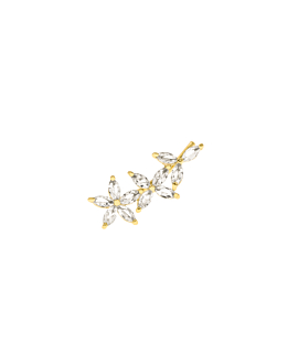 FLOWERED  Ear Climber Gold