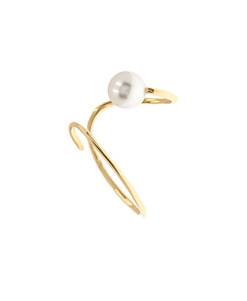 PEARL EAR CUFF  SINGLE 10K GOLD