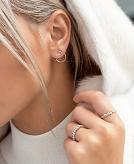 CIRCLE  Ear Jackets Silber