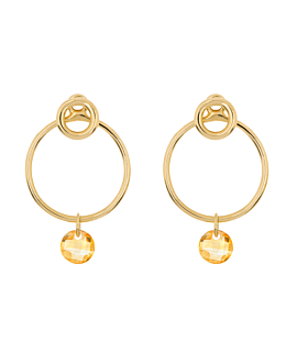 FLYING CITRINE Ear Jackets Circle