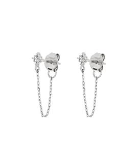 TOPAZ GLIMMER Ear Jackets Silber