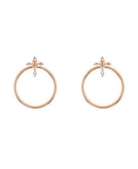 TOPAZ CROSS  EAR JACKETS ROSE