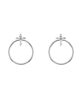 TOPAZ CROSS  EAR JACKETS SILVER