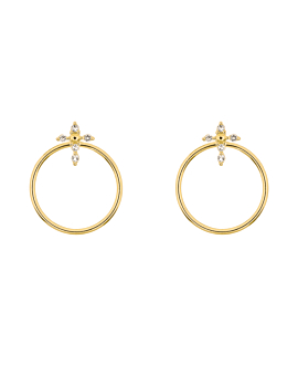 TOPAZ CROSS  Ear Jackets Gold