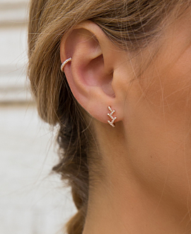 DIAMOND EAR STUD  SINGLE 14K ROSE GOLD
