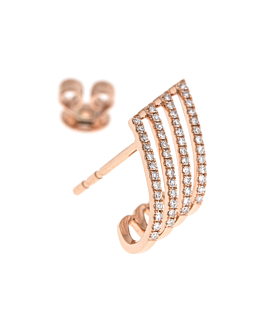 DIAMOND EAR STUDS  SINGLE 14K ROSE GOLD