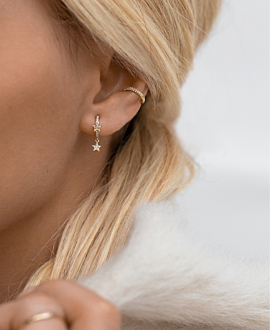 DIAMOND Ear Cuff  Single 14K Gold