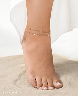 TOPAZ BEADS  Fußkette Silber