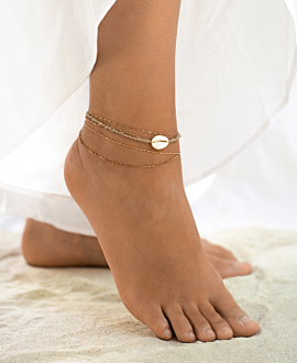 COWRIE ANKLET BEIGE