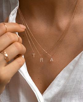 LETTER Halskette 14K Roségold