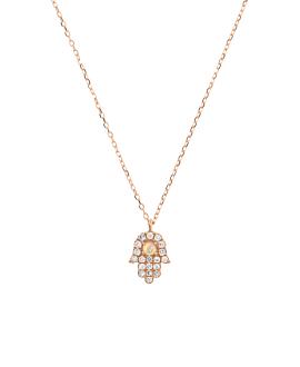 OPAL HAMSA Halskette|14K Roségold