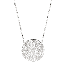 FLOWER ORNAMENT  NECKLACE SILVER