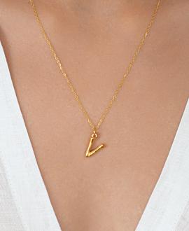 LETTER  Halskette V Gold