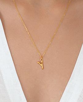 LETTER  Halskette Y Gold