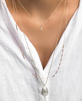 MONDSTEIN Halskette Grau