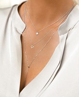 Y Halskette 10K Weißgold