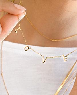 L.O.V.E.  Halskette Gold