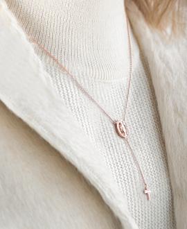 MADONNA CROSS Halskette Rosé