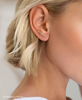 HEARTS EAR CLIMBER SINGLE SILVER