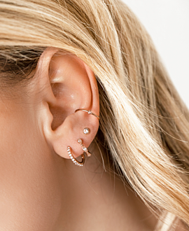 MOONSTONE EAR STUD  SINGLE ROSE