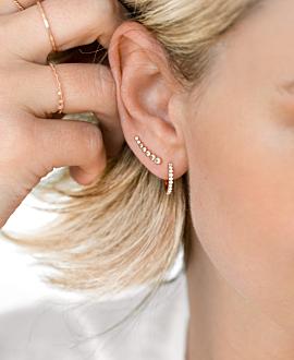 TOPAZ EAR CLIMBER  SINGLE ROSE