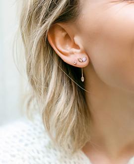 MOONSTONE LEAVES Ear Jackets Rosé