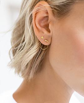 TOPAZ CIRCLE Ear Jackets Gold