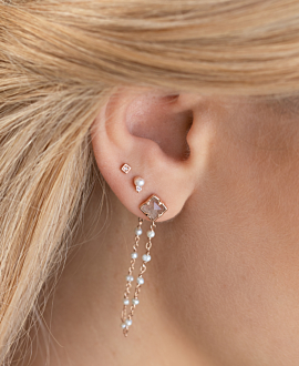 LABRADORITE PEARLS  Ear Jackets Rosé