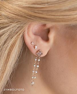 LABRADORITE PEARLS  Ear Jackets Gold