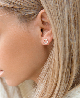 DIAMOND EAR STUDS 14K ROSE GOLD