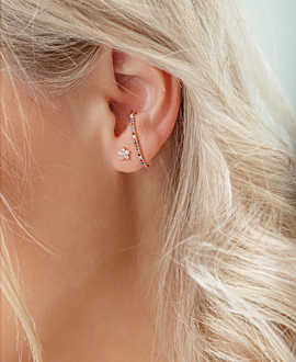 BAR EAR STUD  SINGLE 14K ROSE GOLD