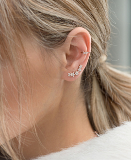 DIAMOND EAR CLIMBER  SINGLE 14K ROSE GOLD