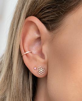 FLOWER OF LIFE  EAR STUDS ROSE