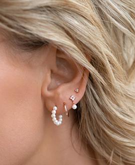 TOPAZ TRINITY  EAR STUDS ROSE